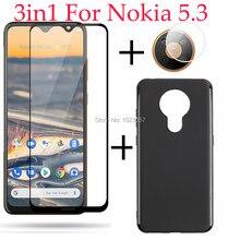 3in1 capa completa de vidro temperado caso câmera lente protetor de tela de vidro protetor de proteção para nokia 5.3 ta-1234 ta-1223 ta-1227 ta-1229