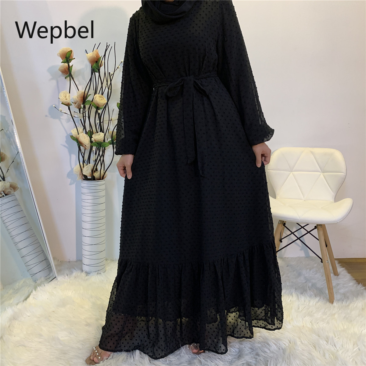 WEPBEL Long Sleeve Middle East Abays Plus Size Women Muslim Dress Panel Fashion High Waist O-neck Big Swing Islamic Clothing
