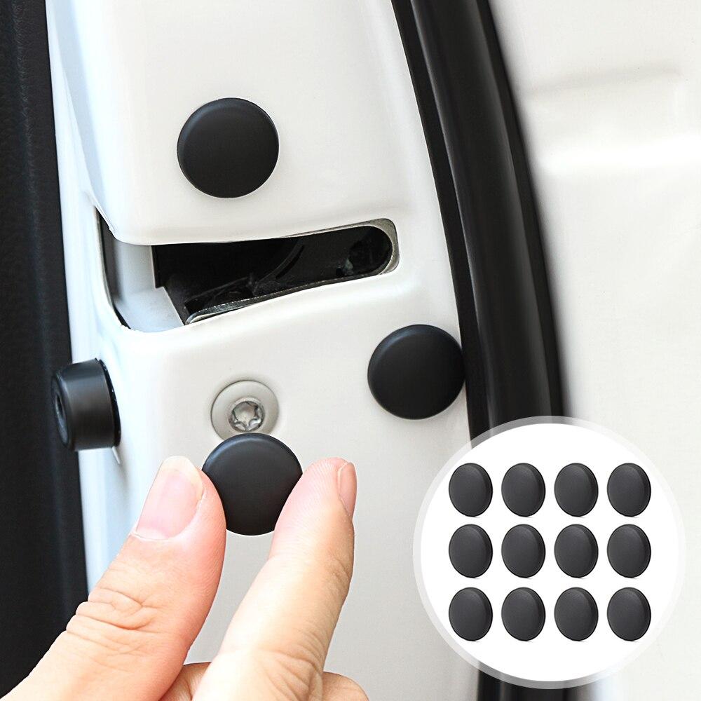 12 pçs fechadura da porta do carro parafuso protetor capa para 2012 honda civic e46 bmw f10 fiat 500 miata ford mustang honda civic 2016 audi q5