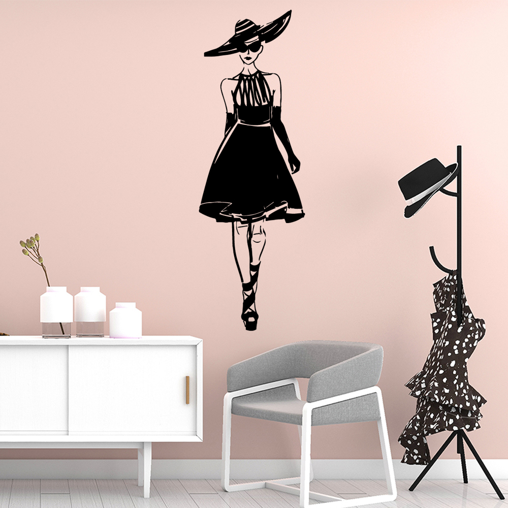 Diy <font><b>skirt</b></font> woman morden Self Adhesive Vinyl Waterproof Wall Art Decal For Kids Rooms Nursery Room Decor Art Decals image