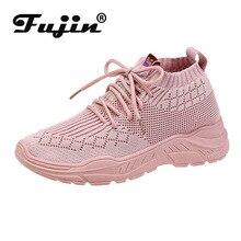 Fujin  Women Shoes Lace Flat Bottom Sneakers New Breathable Socks Students Summer Autumn 2019 Fashion Footwears