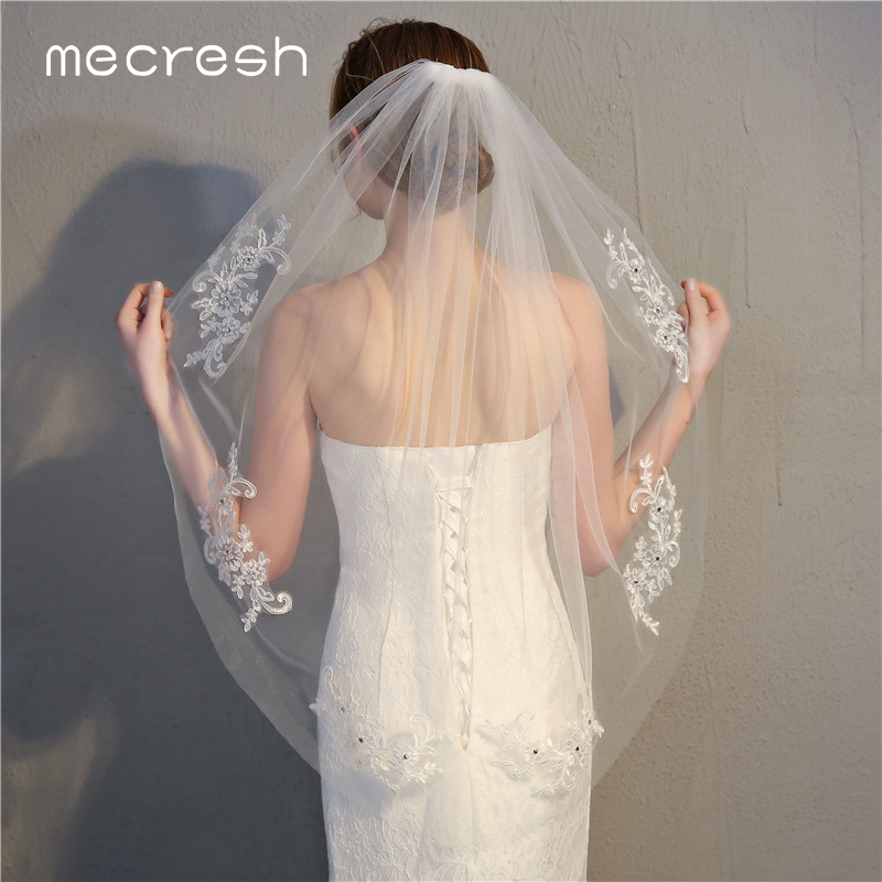 Mecresh Short Wedding Veils With Comb Wedding Accessories Lovely White Beige One Layer Lace Appliqued Crystal Bridal Veils TS017