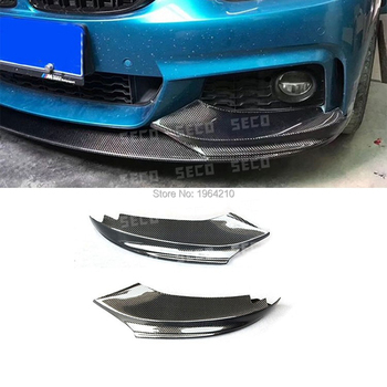 For BMW 4 Series F32 F33 435i M Sport Coupe Convertible 2014-2016 Carbon Fiber Front Corner Splitters Lip Bumper Protector 2Pcs image