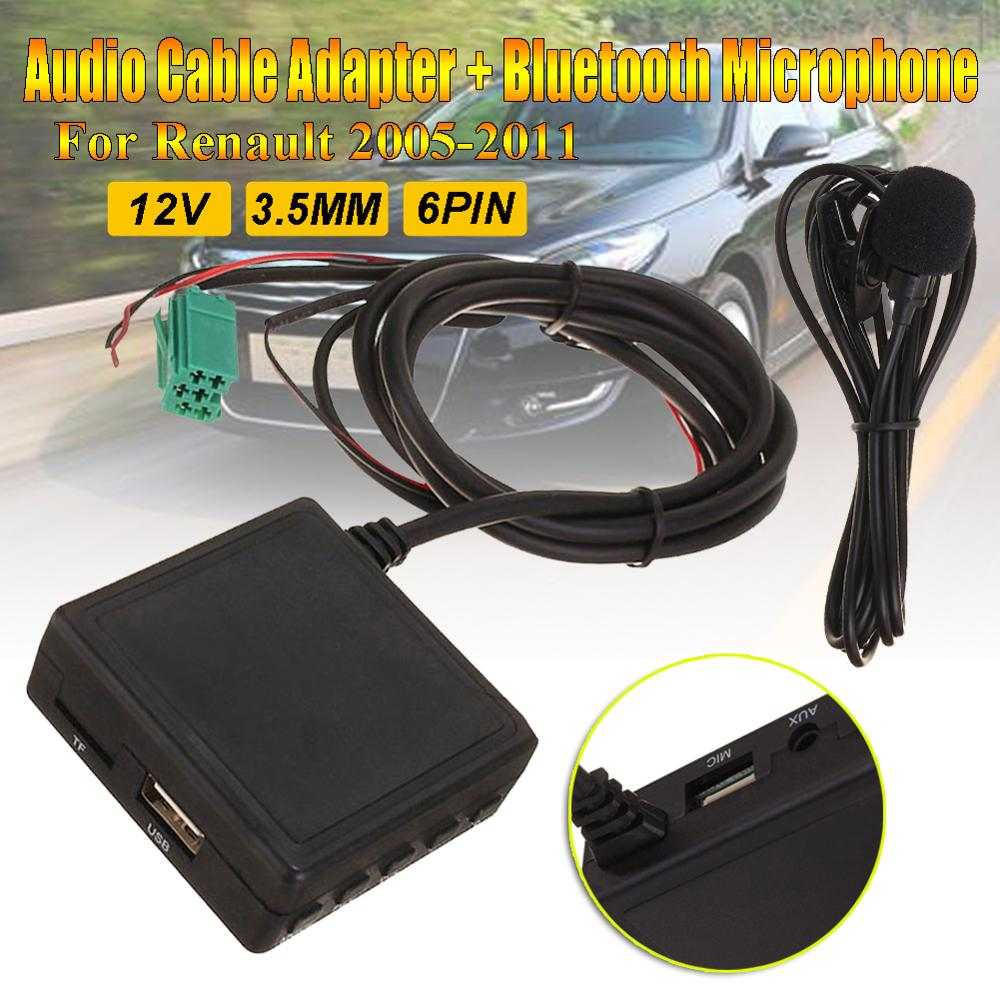 6Pin 3.5MM AUX TF USB Microphone Media Bluetooth AUX Adapter Cable Stereo For Renault 2005-2011