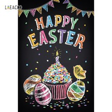 Laeacco Photography Backdrop Colored Happy Easter Egg Bird Cake Photographic Backgrounds For Photo Studio Photophone Photocall(China)