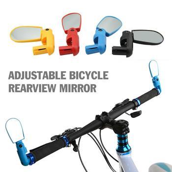 Jazda na rowerze rower lustro uniwersalne regulowane lusterko wsteczne kierownica rowerowa lusterko wsteczne szerokokątny obrót lusterka tanie i dobre opinie Handlebar Mirror Black Yellow Blue Red 13 * 4 5 * 2 5cm Bike Mirrors Bicycle Accessories