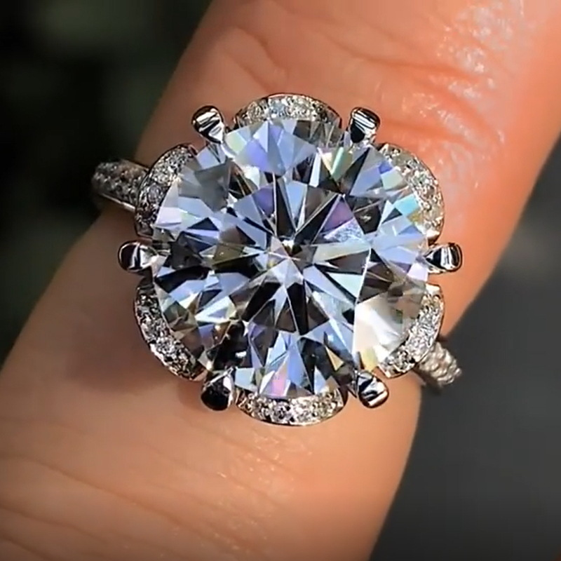 Luxury Six Petal Flower Crystal Zircon Stone Ring Cute Simple 925 Silver Finger Wedding Promise Engagement Rings For Women