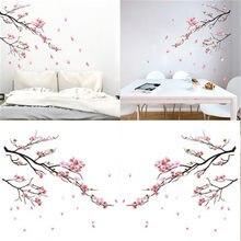 Flor de ameixa rosa adesivo parede flor ameixa ramo da árvore decalques para sala estar crianças quarto adesivo mural
