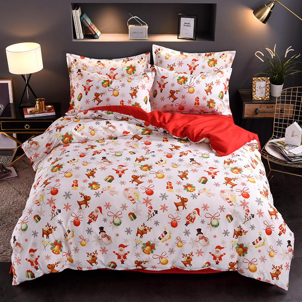 Lovely Christmas Snowflake Printed Bedding Sets Christmas Bed Linen Bed Quilt Cover Bed Sheet Bed Cover