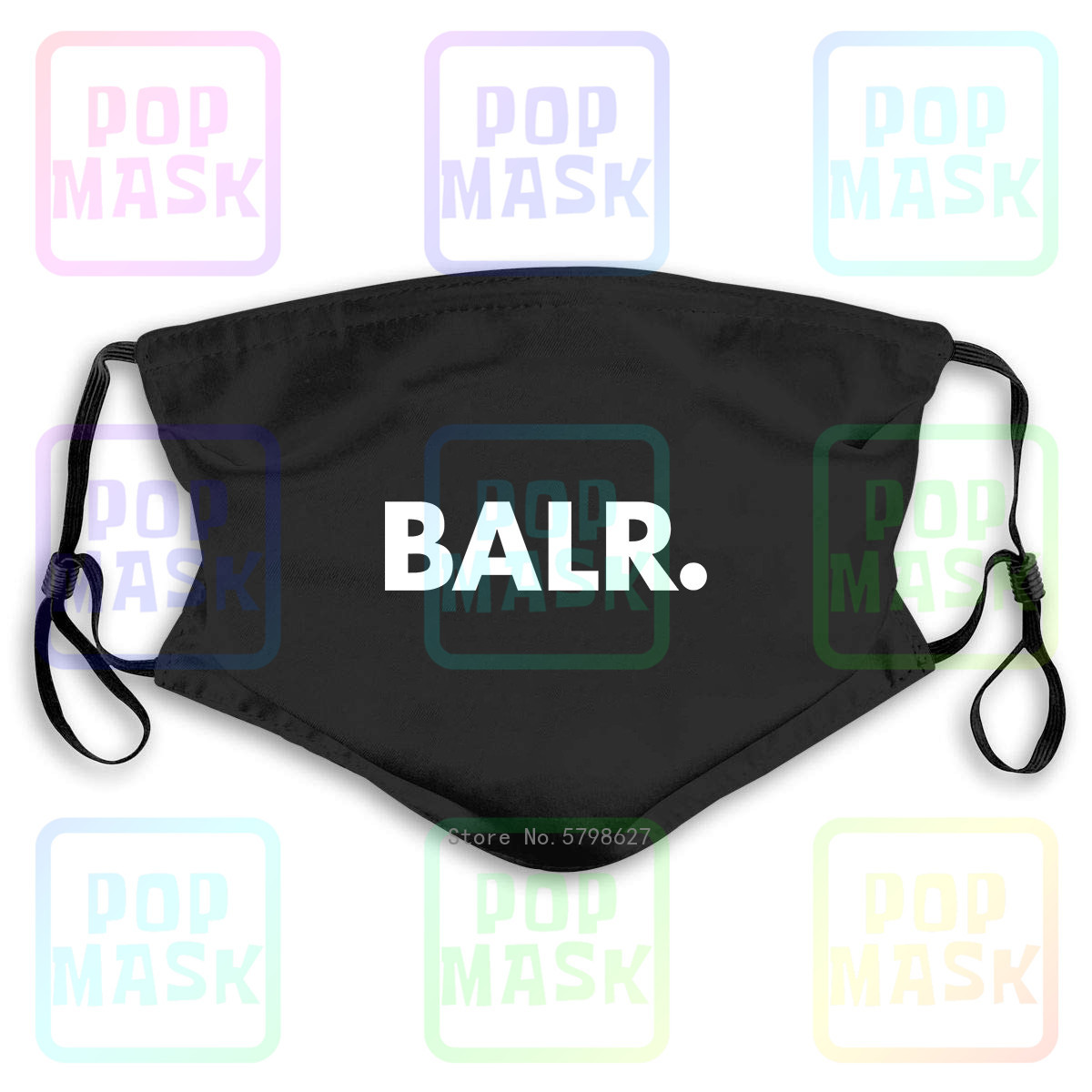 Balr Logo Hoodsoccer Football Washable Reusable Mask With 2Pcs PM2.5 Filters 5 Layers