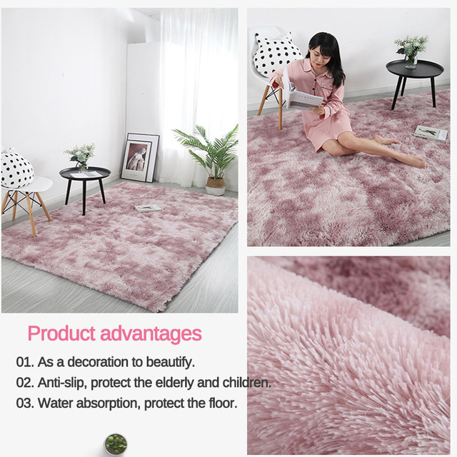 Pink Thick Plush Carpet for Living Room Fluffy Rug Bed Room Carpets Anti-slip Floor Soft Rugs Tie Dyeing Carpets Kids Room Mat 3