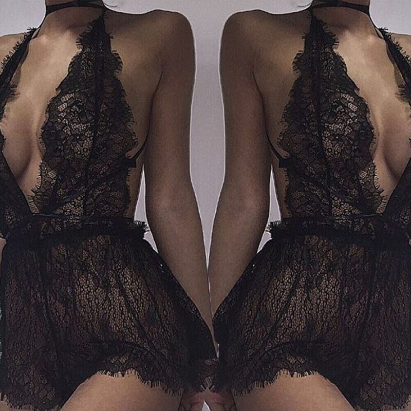 New Style Women's Teddies Sexy Lace Lingerie Deep V Neck Nightwear Underwear G-string Babydoll Sleepwear Lace Pure Color Exotic