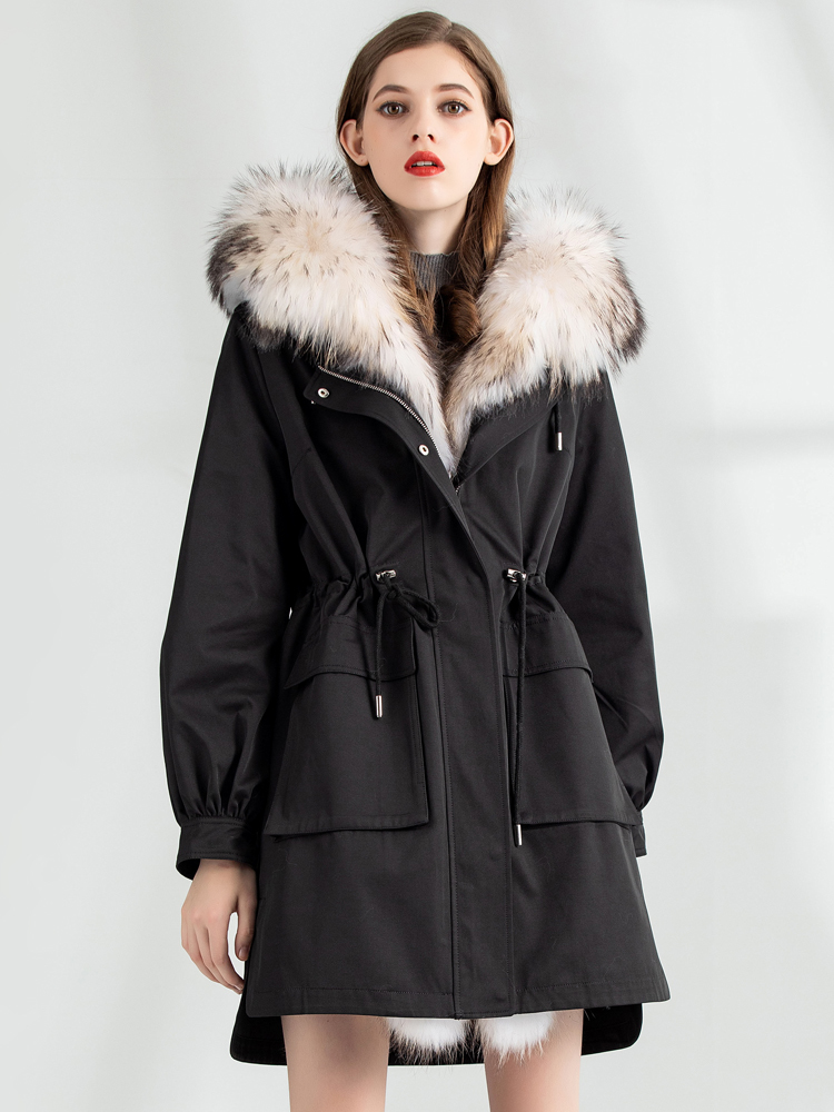 Rabbit Natural Fur Liner Parka Real Fur Coat 2020 Winter Jacket Women Raccoon Fur Collar Korean Long Trench Coats MY3840 S
