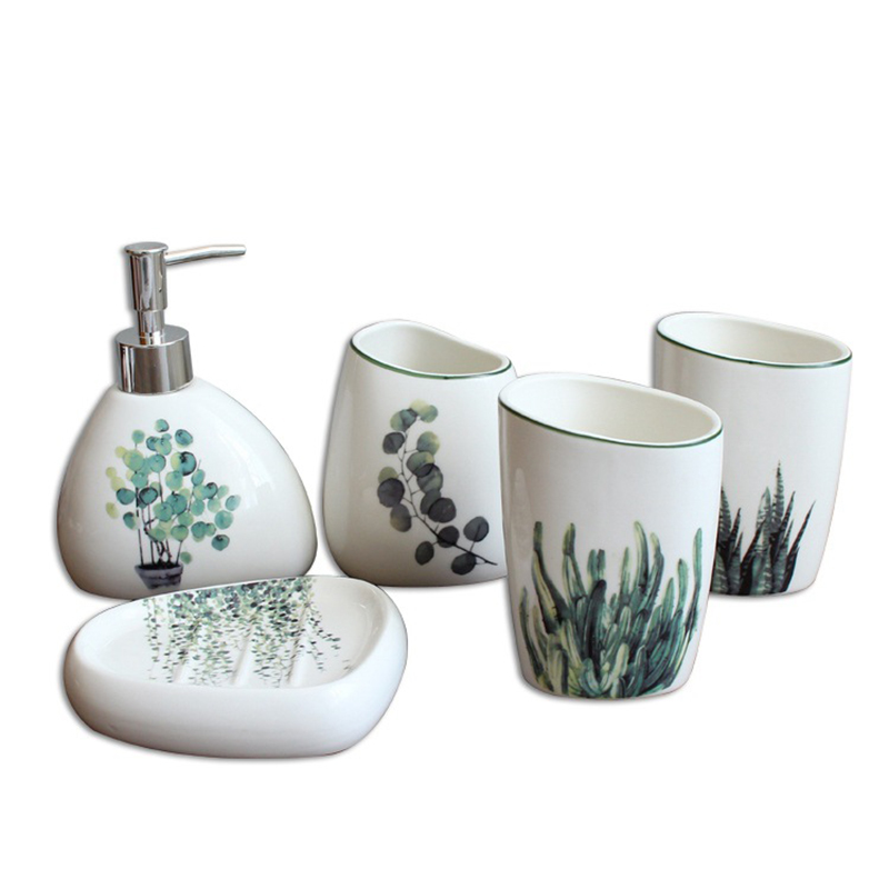HLZS Nordic Green Plant Ceramic Bathroom Products Simple Five Piece Wedding Bath Set Bathroom Ceramic Set