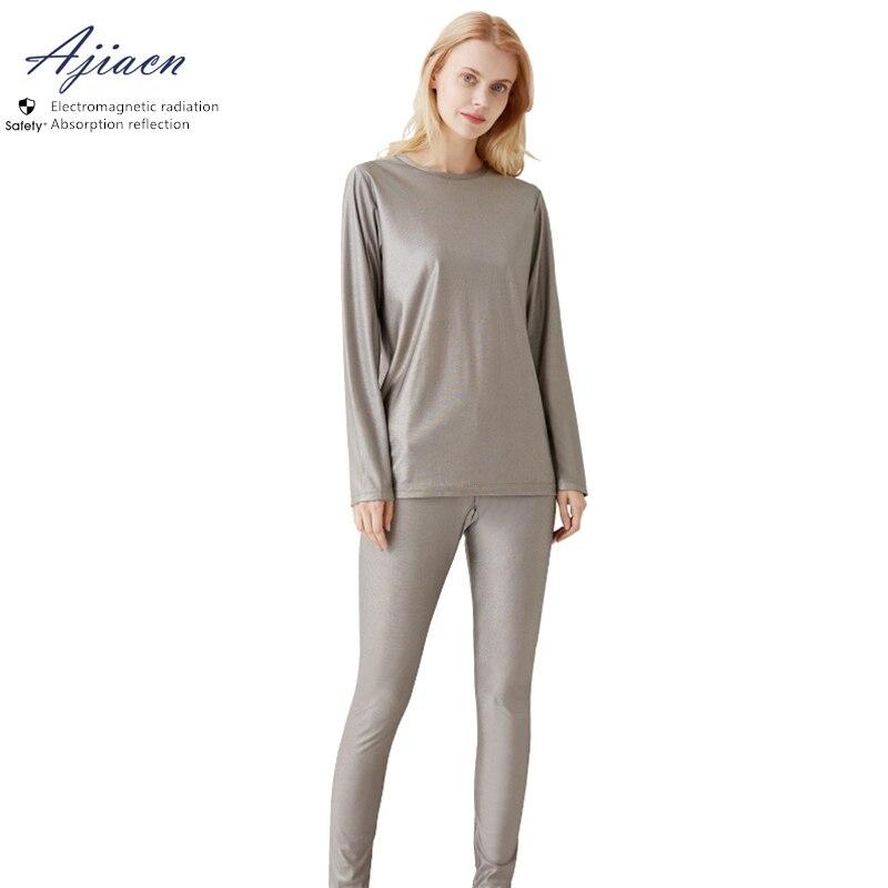 Подлинное электромагнитное излучение защитное женское 100% Серебряное волокно комплект нижнего белья EMF Экранирование нижнее белье