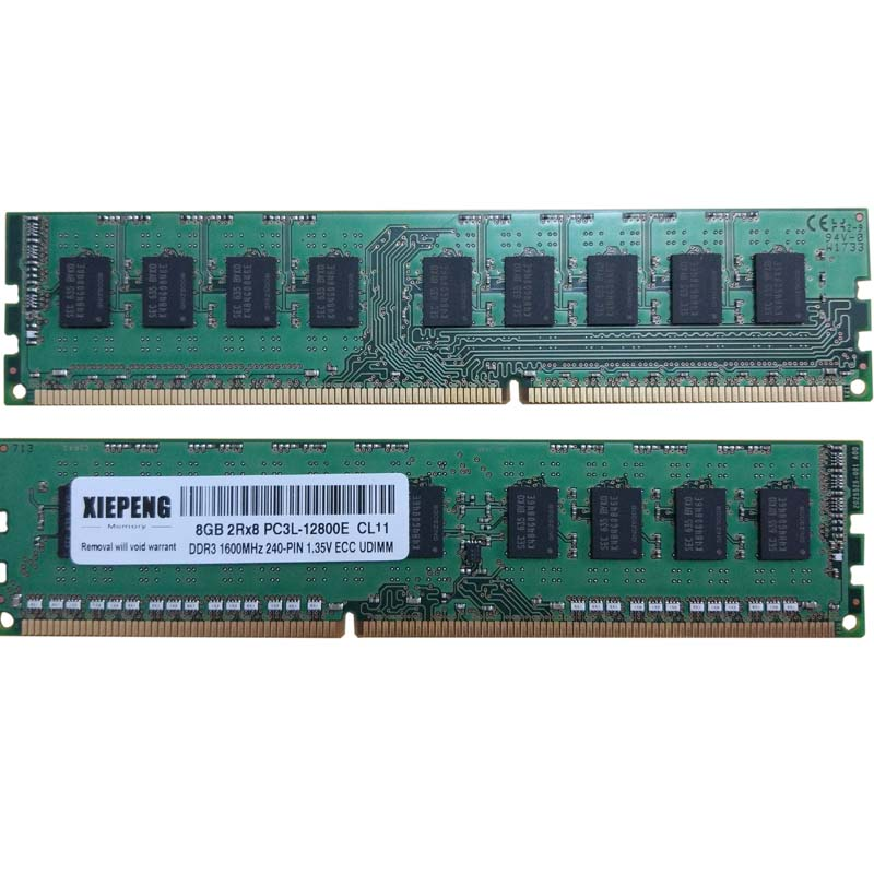 For HP ProLiant ML10 V2 ML310e Gen8 V3 DL320e Gen8 RAM 8GB 2Rx8 PC3L-12800 1600MHz ECC Unbuffered RAM 4G PC3 10600E DDR3 1333MHz