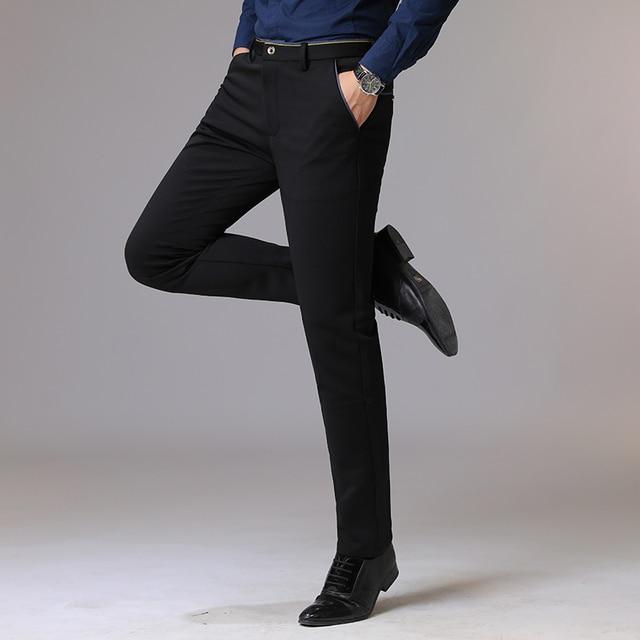 Autumn Long Pants Plus Size Streetwear Slim Men's Trousers Business Casual Elastic Hombre Male Fashion Straight 38 Brand MOOWNUC 2