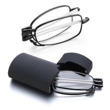 Gafas de lectura de diseño MINI, de moda novedosa, para hombre y mujer, montura de gafas pequeñas plegable, Gafas de Metal negras con caja Original portátil