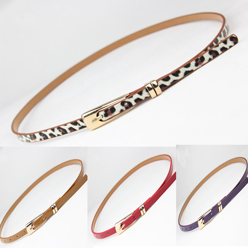 Leopard Print Belts For Women Gold Square Pin Buckle Waistband PU Leather Belt Fashion Colorful Dress Jeans Leather Thin Belt