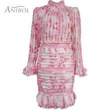 Элегантное женское платье с оборками,, с длинным рукавом, с высоким горлом, пляжные, вечерние, облегающее, с бриллиантами, короткое платье