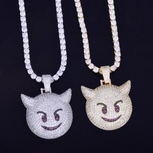 Image 4 - Collier et pendentif, démon Expression maléfique, avec chaîne de Tennis couleur or Zircon brillant, mode Hip hop Rock Street, bijoux