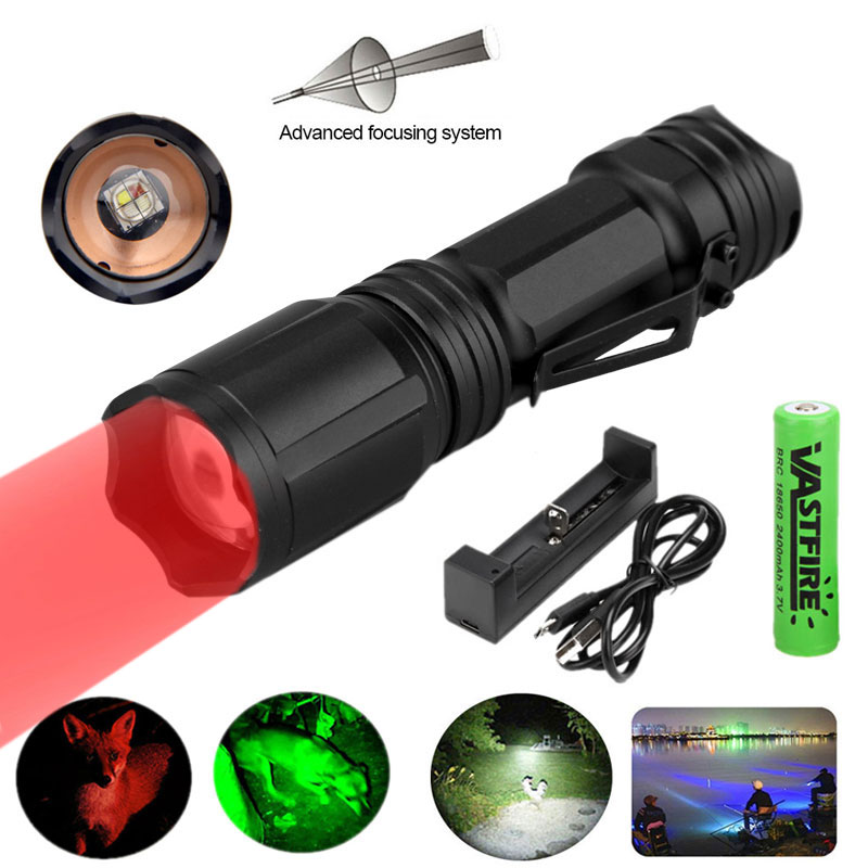 10W Led Flashlight Ultra Bright XML Powerful Usb Torch 4 Color In 1 Multi-Color Lantern 18650 Best Camping Fishing Hunting Lamp