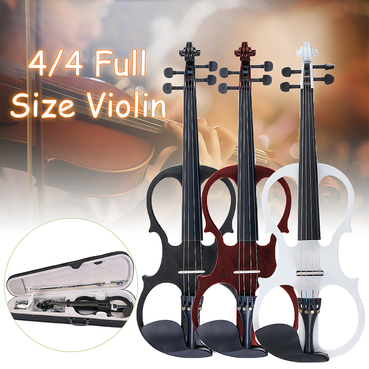 Senrhy 4/4 Electric Violin Fiddle Stringed Instrument Basswood With Fittings Cable Headphone Case For Music Lovers Beginners
