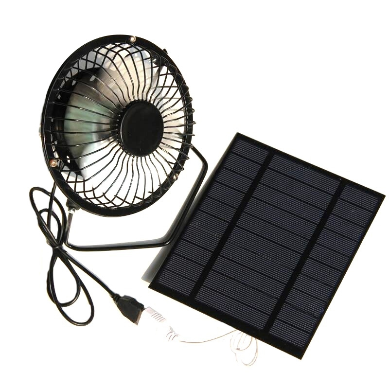 Hot!! 2.5W <font><b>5V</b></font> Solar Powered Panel Iron <font><b>Fan</b></font> For Home Office Outdoor Traveling Fishing 4 Inch Cooling Ventilation <font><b>Fan</b></font> <font><b>Usb</b></font> New image
