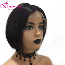 Bouncing Straight 13x4 Lace Front Wig Natural Black Short Bob Wigs Customized Cut Pixie Brazilian Remy Human Hair