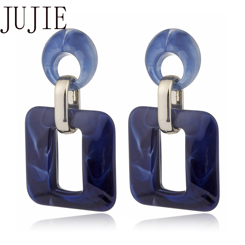 JUJIE Geometric Drop Earring For Women 2020 Acrylic Acetic Acid   Earrings Accessories Fashion Jewelry