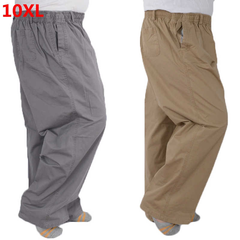 Plus Size 8XL Middle-aged Men's Summer Thin Elastic Band High Waist Cotton Casual Trousers Dad Oversize 7XL 6XL 5XL 4XL