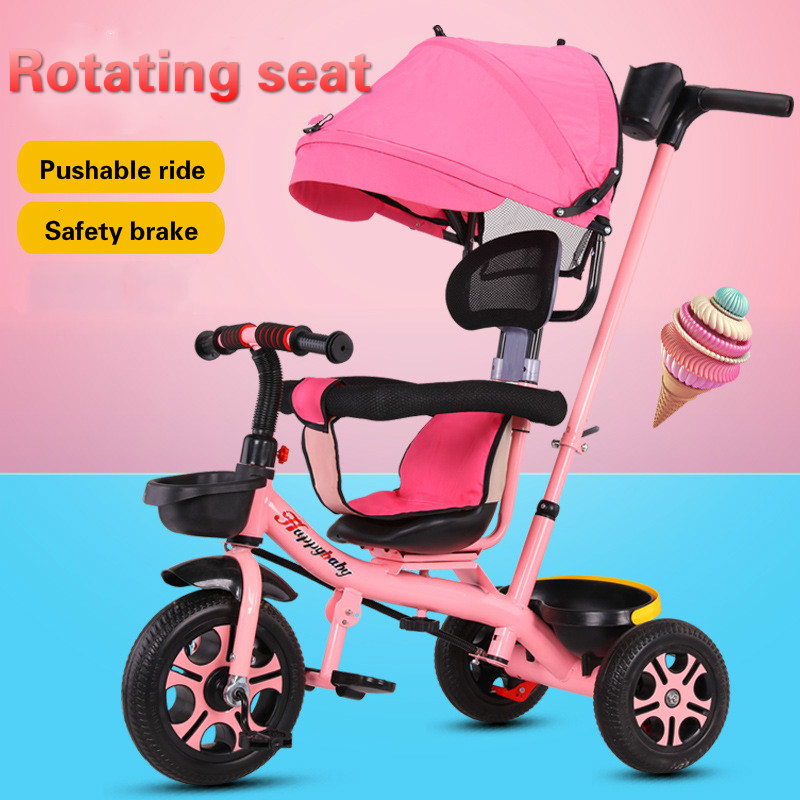 Protable Children's Bicycle Three Wheel Tricycle Can Adjustable Hand Push Carts Easy Folding Stroller For Kids
