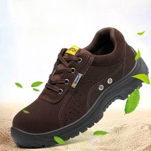 men's leisure large size breathable steel toe caps work safety shoes summer cow suede leather securi