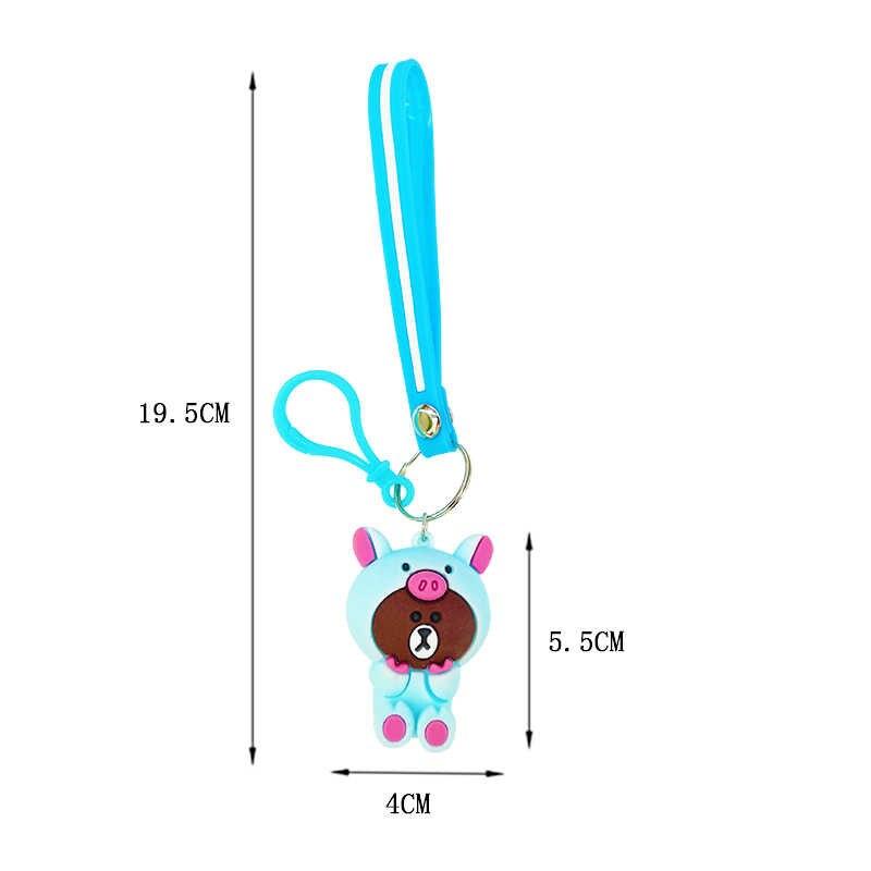 Llavero lindo de pvc de dibujos animados de silicona mini oso llavero señoras coche llave joyería colgante niños mini regalo