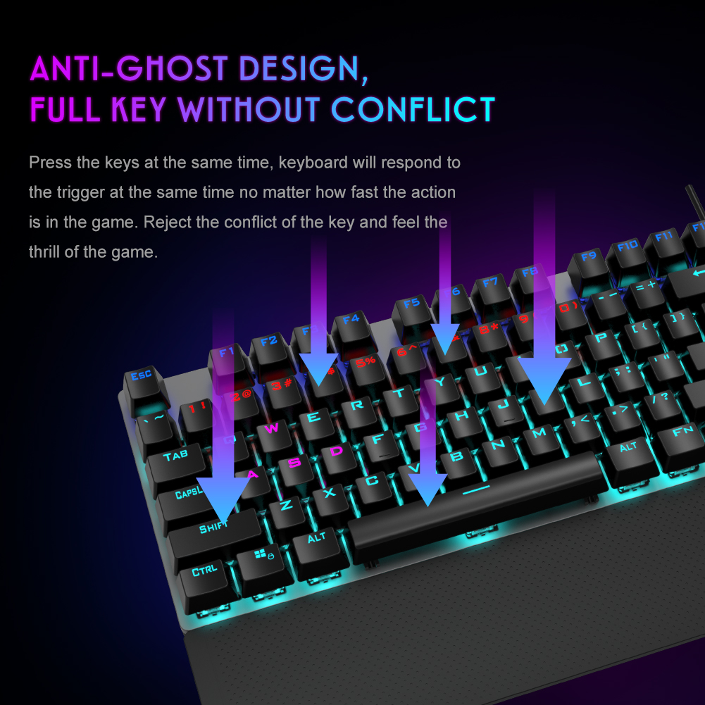 AULA F2088 Gaming Mechanical Keyboard Blue Brown Switch Wired Mix Backlit Keyboard 104 Keys Anti-ghosting for Gamer PC Desktop
