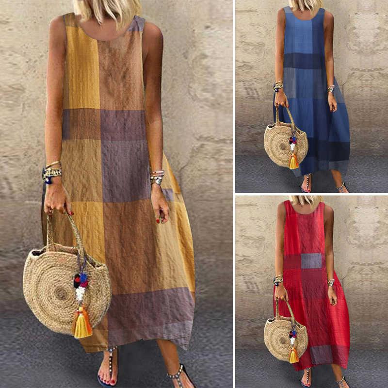 ZANZEA kadınlar pamuk keten elbise Vintage yaz çiçek baskılı uzun elbise kolsuz Sundress Baggy plaj Vestido Sarafans 5XL