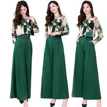Pants Two-Piece-Set Tracksuit Blouse/Pant/set Plus-Size Summer Woman Ladies Top Wide
