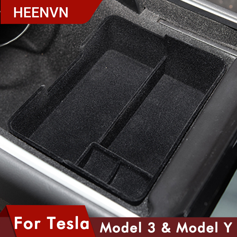 Heenvn Model3 Car Central Armrest Storage Box For Tesla Model 3 Y Accessories Console Holder Auto Container Glove Organizer Case