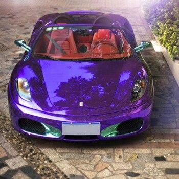 Factory Price  1.52x18M High Stretchable  Car Decoration Mirror Chrome Wrap Purple Car Sticker Vinyl Film