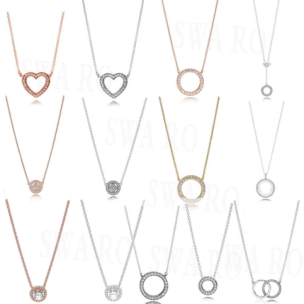 High-quality Classic 925 Silver Double-sided Simple Hearts Of, Circles, Love Shape Necklace Original Ladies Jewelry With Charm