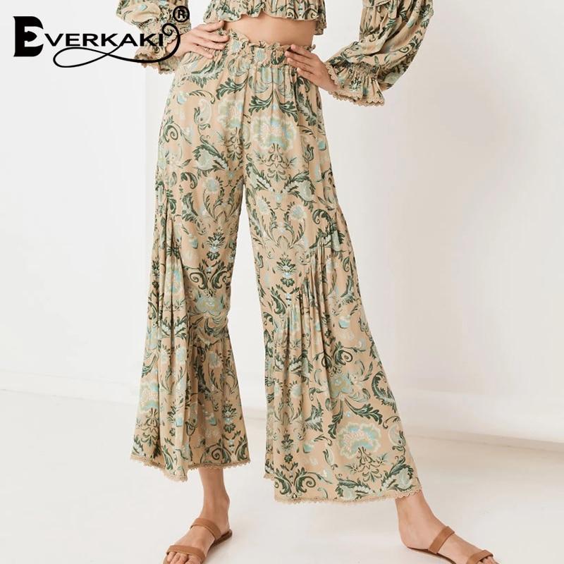 Everkaki Elastic Waist Wide Leg Pants Women Autumn Boho Floral Print Elegant Ladies Casual Long Pants Female 2019 Autumn New