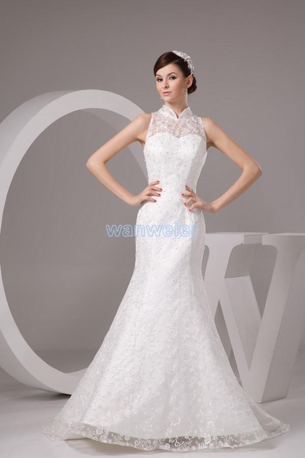Free Shipping 2017 New Design Elegance Vestidos De Novia Customize Color Bridal Gown White Mermaid Luxuriant Lace Wedding Dress