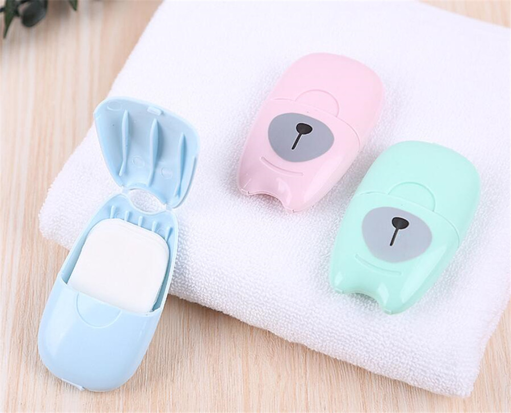 Hot 300box/lot 50pcs/box Disposable Boxed Paper Soap Travel Portable Hand Washing Box Scented Slice Sheets Mini Soap Paper