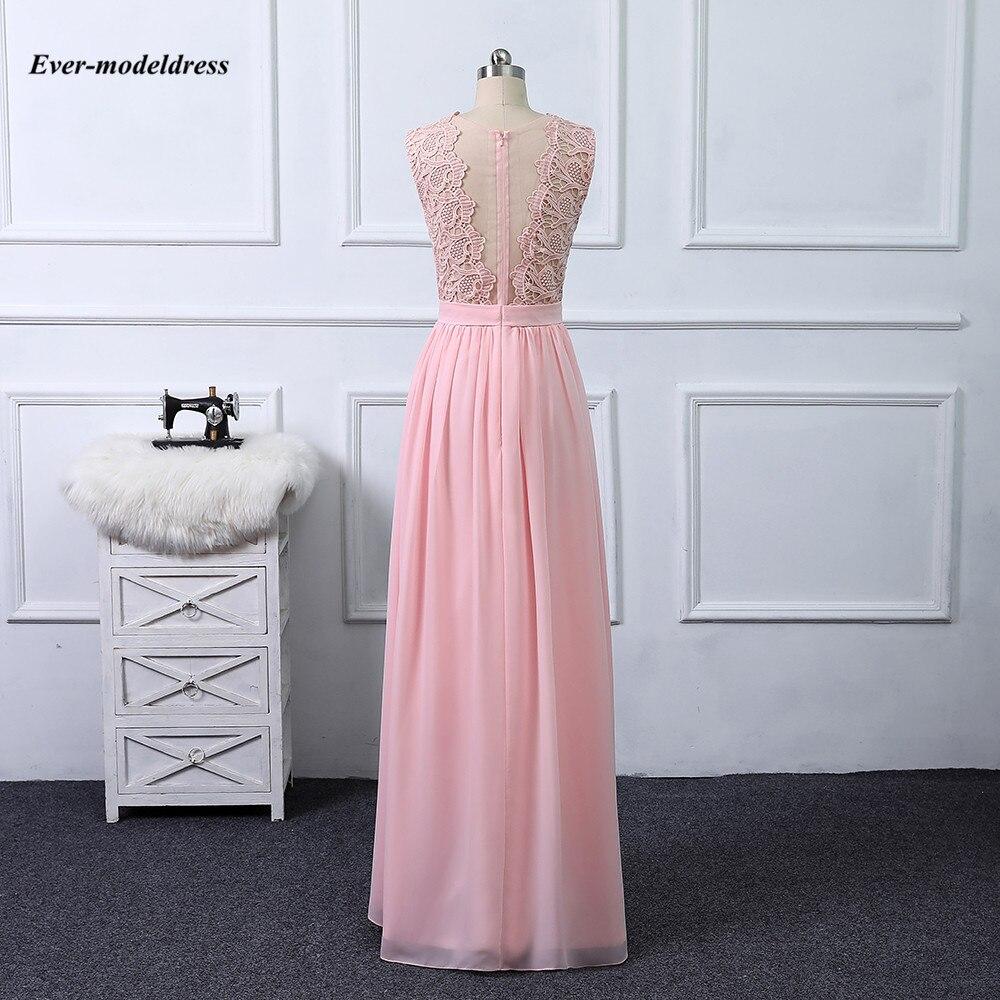 Купить с кэшбэком 2020 Blush Pink Bridesmaid Dresses Lace Appliques Country Wedding Guest Dresses Floor Length Real Photos Vestidos Dama De Honor