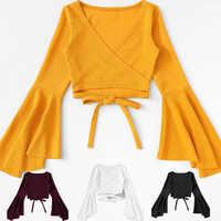 Haut blanc jaune haut court t-shirt débardeur femmes t-shirt femm Bandage ropa à manches longues Sexy décontracté Camiseta Mujer Tee noir haut court