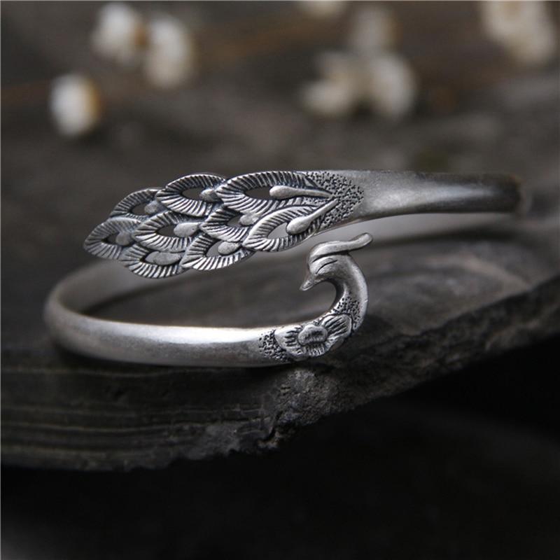 Prawdziwe S990 bransoletki ze srebra wysokiej próby i bransoletki stałe Phoenix Peacock otwarcie regulowany typ nowe Fine Jewelry 22mm 22.30G w Bransoletki i obręcze od Biżuteria i akcesoria na  Grupa 1