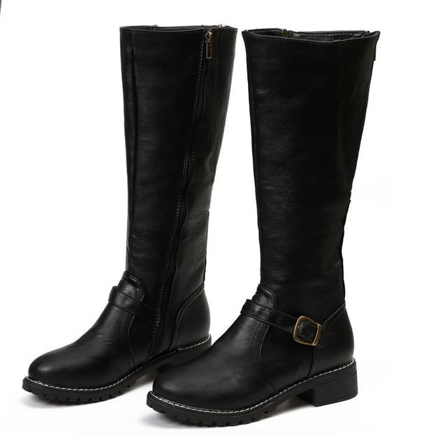 2019 Knees Square Heel Boots Women PU Leather Suede Matte Boots Slip on Zapatos De Mujer Solid Riding Knight Boots Winter Shoes 27
