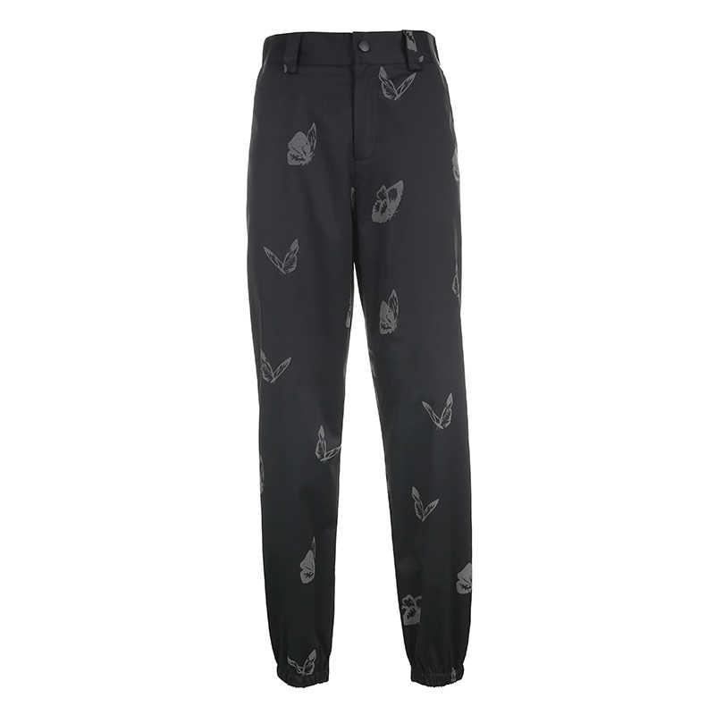 Darlingaga Streetwear yansıtıcı kelebek baskı yüksek bel pantolon kadın moda festivali pantolon eşofman altları yeni Pantalon Femme