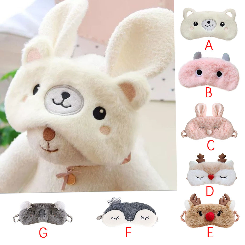 NEW Christmas Deer Cute Animal Eye Cover Plush Fabric Sleeping Mask Eyepatch Winter Cartoon Nap Eye Shade For Christmas Gift