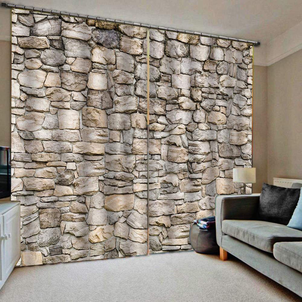 brick wall curtains 3D Window Curtain Dinosaur print Luxury Blackout For Living Room  stereoscopic curtains  Blackout curtain